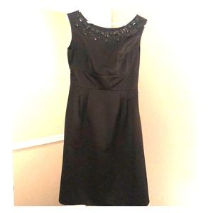 Black LOFT cocktail dress w beaded neckline